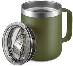 Features of 12 oz stainless steel coffee mug with lid and handle 1. Amazon Com 12oz Stainless Steel Insulated Coffee Mug With Handle Double Wall Vacuum Travel Mug Tumbler Cup With Sliding Lid Army Green Coffee Cups Mugs