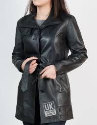 womens 3 4 length black leather coat jacket front