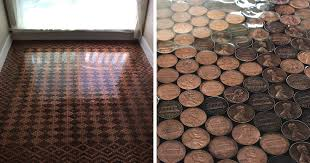 Woman Uses 13 000 Pennies To Renovate Old Floor And Turn It Into