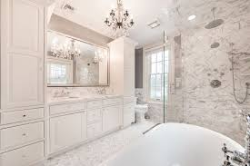 traditional master bathroom with chandelier and walk in shower