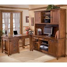 Ashley Furniture Cross Island 5 Piece L Shape Desk Unit with Hutch
