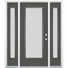masonite blanca full lite privacy glass left hand inswing timber gray painted fiberglass prehung entry door with sidelights and insulating core common