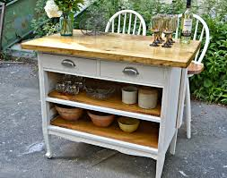 Antique Kitchen Work Tables Heir And Space Antique Dresser Turned Cottage Kitchen Island
