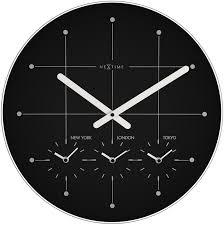 wall clock 43 Ø glass black big city
