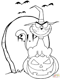 Small Picture Halloween Cat on Pumpkin near Tombstone coloring page Free
