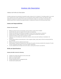 Hostess Job Description On Resume Hostess Duties Resume Free Download Hostess Job Description for 2