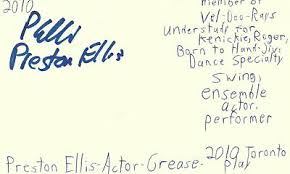 Preston Ellis Actor Grease Play Autographed Signed Index Card | eBay