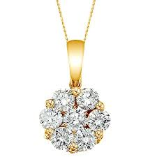 diamond cer flower pendant necklace in 14k yello gold 1 00ct