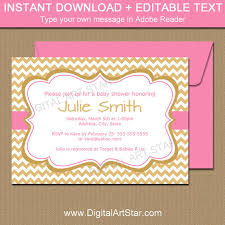 Bridal Shower Template Delectable Girl Baby Shower Invitation Gold And Pink Invite Template Gold