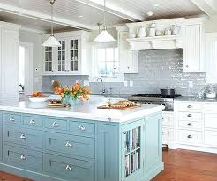 gray subway tile kitchen blue island livening up the grey subway tile and white cabinetry grey