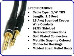 foot prime trs or stereo phono patch cable male to male pro 15 foot 14 trs or stereo phono patch