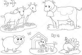 Animali Della Fattoria Da Colorare 2 Vettoriali Stock