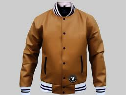 letterman jackets leather cowhide brown plain leather
