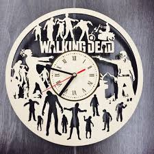 walking dead wall art home decor design gift clock decorations zombie wood decal
