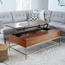 brass storage coffee table walnut