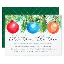 Christmas Ornaments Tree Trimming Party Invitation