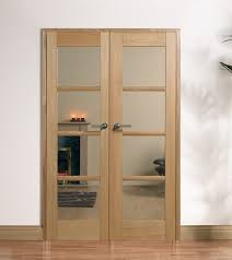 oak oslo internal french doors with clear glass