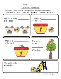 Top Middle Bottom Worksheets Moving Words Math Worksheet Preschool ...