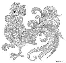 Small Picture Rooster in zentangle style Symbol of Chinese New Year 2017 Adult