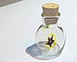 nug jug herb jar small hand blown glass bottle yellow black star dispensary display jar culinary jar herb flask