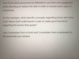 Good Judgement Examples Solved Your Front Desk Personnel Are Allowed To Use Their