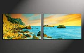 2 piece canvas wall art home decor art ocean canvas art print ocean on yellow blue and grey wall art with 2 piece yellow huge pictures canvas ocean wall art