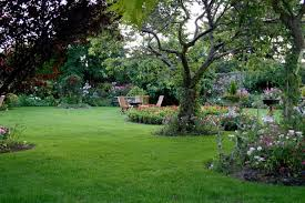 This yard is very open with plenty of space. The perimeter of this  beautiful landscaping