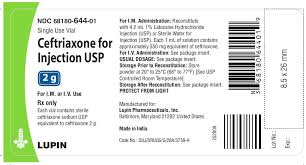 Ceftriaxone For Injection Usp 250 Mg 500 Mg 1 G And 2 G