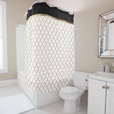 black white and gold shower curtain. elegant black, white and gold quatrefoil patterns shower curtain black