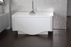 Wide White Gloss Bedside Table With Drawer And Storage With Modern Style  For Contemporary Bedroom Spaces With Black Marble Floor Tiles Ideas