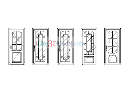 free 5 glass door elevation cad blocks and drawings dwg file