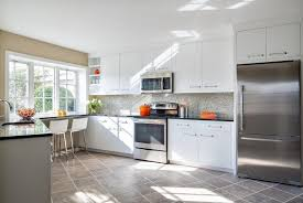 small white kitchens with white appliances. This Fabulous Kitchen Takes Advantage Of Different Textures To Keep The Use Grey From Becoming Small White Kitchens With Appliances