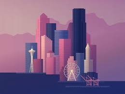 Seattle Cityscape Seattle Skyline By Anna Rising On Dribbble