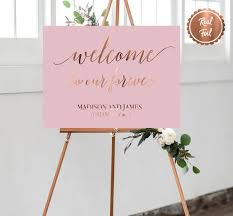 Copper Foil Welcome Wedding Sign Custom Welcome Signs Pink Etsy