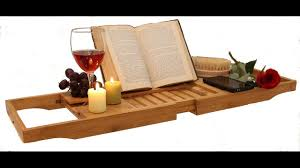 bath caddy tray bamboo book holder extend tub jacuzzi wood luxury by zen bambou