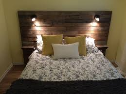 Pallet Headboard With Shelf Lights And Plugs For Cell