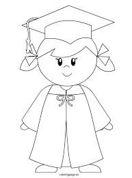 Kindergarten Graduation Coloring Pages Kindergarten Graduate Girl Coloring Page To Color Graduation