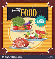 Design A Poster On The Topic Of Healthy Food Healthy Food Vintage Poster Cartoons Vector Illustration