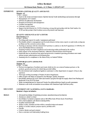Sample Auditor Resumes Quality Auditore Example Cv Examples Assurance Sample Software