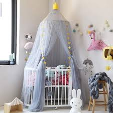 Urijk Mosquito Net Hanging Round Baby Kids Lace Four Corner Student Canopy Bed Mosquito Net for Children Girls Room Decoration