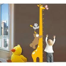 Bear Birds With Giraffe Growth Chart Wall Decal For Nursery