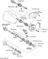Repair guides manual transaxle halfshafts 10 exploded view of the bolt type driveshaft 1mz fe