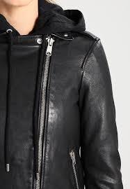 allsaints oversized hooded biker black leather jackets for women