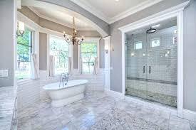 large tile shower large luxury bathroom with white subway tile and large tile shower