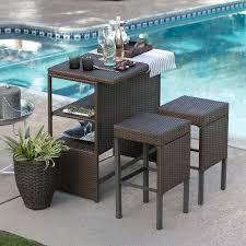 3 piece patio bar set. Wonderful Set Coral Coast Marby Resin Wicker 3 Piece Patio Bar Set With