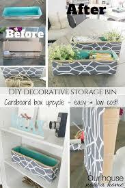 Cardboard Storage Box Decorative DIY decorative storage bin cardboard box upcycle Our House Now 78