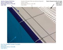 olympic pool closeup shows pool interior tiles pool coping matching pool deck tiles and