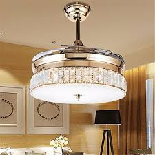 36 luxury ceiling invisible fan light crystal lamp chandelier decor rose gold