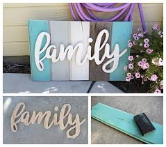 diy family word art sign woodworking project tutorial turquoise tones new wood distressed to look
