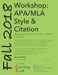 Writing Lab Workshop On Citations Purdue Ie Undergrad News And Notes